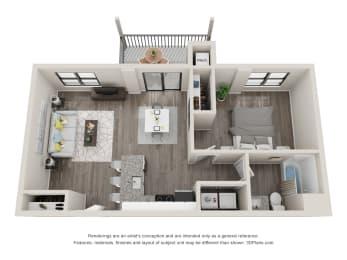 A2 Floor Plan at Latitude at South Portland, Portland