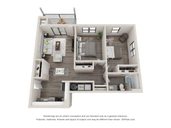 B1 Floor Plan at Latitude at South Portland, Portland
