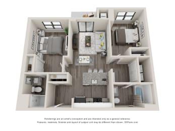C3 Floor Plan at Latitude at South Portland, Portland, ME, 04106