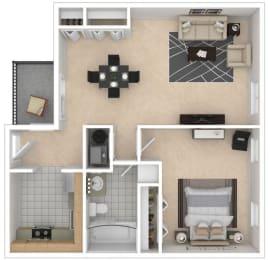 Mayfair Apartments, Virginia Beach, 1x1 3D floorplan
