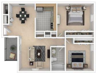 Mayfair Apartments, Virginia Beach, 2x1 3D floorplan