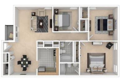 Mayfair Apartments, Virginia Beach, 3x2 3D floorplan