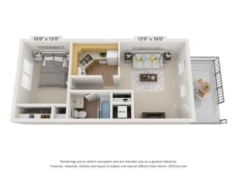 Floor Plan 1BR 1BA A