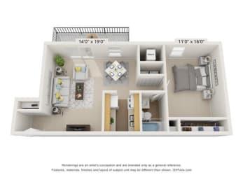 Floor Plan 1BR 1BA B