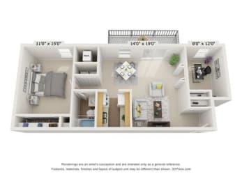 Floor Plan 1BR 1BA with Den