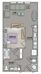 S1 1 bath Floor Plan at The Jamestown Apartment Flats, Virginia, 23224