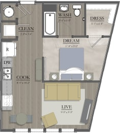 S1A Floor Plan at Livingston Apartment Flats, Chesterfield, VA