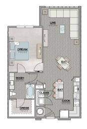A1.2 Floor Plan at Santos Flats Apartment Homes, Florida, 33619