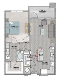 A1.4 Floor Plan at Santos Flats Apartment Homes, Tampa, FL, 33619