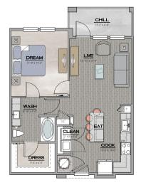 A1 Floor Plan at Santos Flats Apartment Homes, Florida
