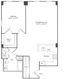 sumptous 1 bedroom apartment for rent in Cambridge MA Floor Plan