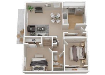 2 Bedroom 1 bath Floor Plan at 1038 on Second, California