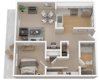 One-Bedroom Floor Plan at 1038 On Second in Lafayette