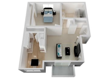 One Bed One Bath Floor Plan at Appletree Apartments, California, 95008