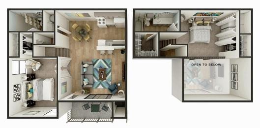 The Newport - 2 Bedroom 1 Bath Floor Plan