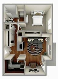 The Birch Floor plan Image - 1 Bedroom/ 1 Bath - 598 sq. ft.