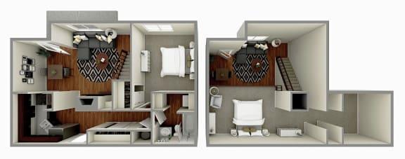 The Cedar Floor plan Image - 1 Bedroom + Den / 1 Bath - 790 sq. ft.