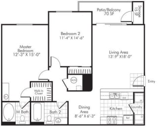 2 Bedroom X 2 Bath - 1,121 Sq. Ft. Floor Plan - B2 - Partly Renovated