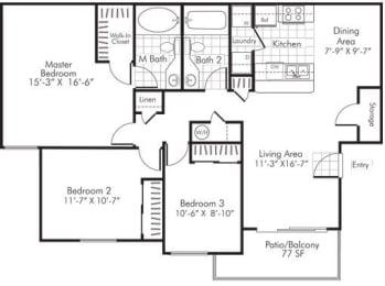3 Bedroom X 2 Bath - 1,320 Sq. Ft. Floor Plan - C1 - Renovated