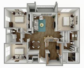 C1 - 3 Bedroom 2 Bath Floorplan Image