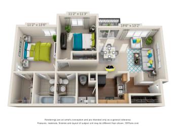 The Ashe - 2 bedroom X 2 bath floor plan - 966 sq. ft. - Classic