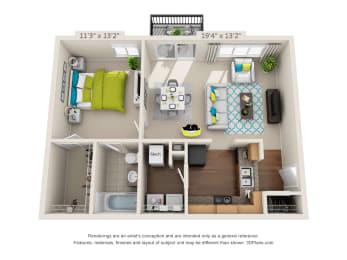 The Point - 1 bedroom X 1 bath floor plan - 683 sq. ft. - Classic