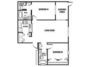 B1 - 2 Bedroom / 2 Bath - 1,065 Sq. Ft. Floor plan Image