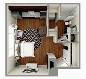 The Aspen Floor plan Image - Studio / 1 Bath - 392 sq. ft