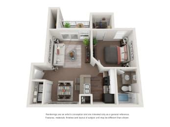 Floor Plan  1 Bedroom 3D Floor Plan Lace A1