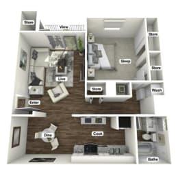 Floor Plan  1 bedroom 1 bathroom 3D floor plan named The Reprieve