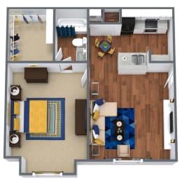 Floor Plan  1 Bed 1 bath 3D floor plan Monarch
