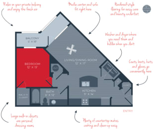A1 Mercury 1 Bed 1 Bath The Moderne at Providence Apartments in Huntsville, AL
