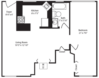 Floor Plan  Studio floor plan at Cardiff Hall Apartments Towson MD