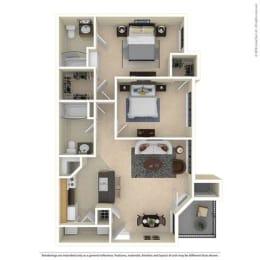 B1 Two Bed Two Bath 992 Sq ft Floorplan at Mariposa Villas, Dallas, TX, 75211