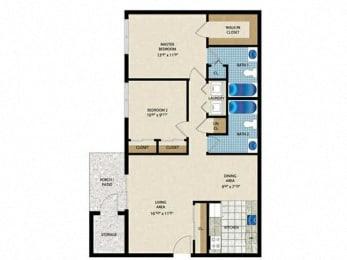 Floorplan 2x2 bedroom