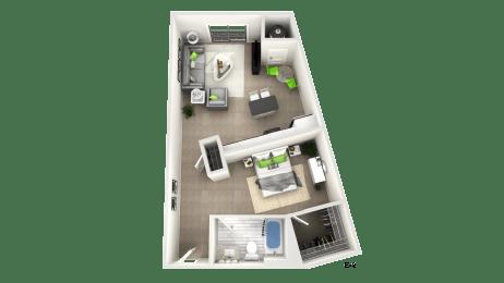 Studio Floor Plan at Apex Apartments, Virginia, 22206