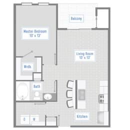 Floor Plan 1 Bed, 1 Bath - 717 SF