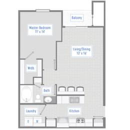 Floor Plan 1 Bed, 1 Bath - 762 SF