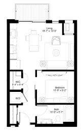 Floor Plan  Central Park West Apartments in St. Louis Park MN, 1 Bedroom Bigtooth Floor Plan