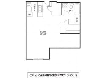 Floor Plan  The Calhoun Greenway Apartments in Minneapolis, MN Studio
