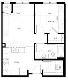 Floor Plan  Gabella at Parkside Apartments in Apple Valley, MN One Bedroom One Bath Floor Plan