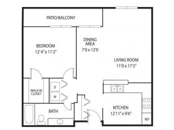Floor Plan  Mallard Creek Apartments in Golden Valley, MN 1 Bedroom 1 Bathroom