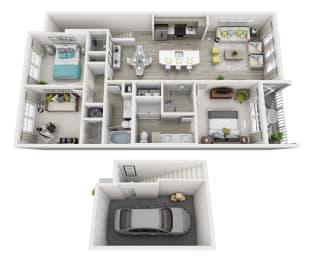 3 Bedroom 2 Bath  with a Garage
