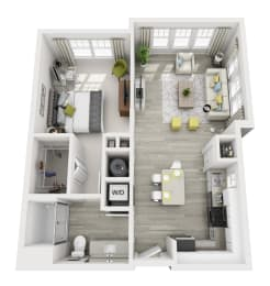 1 Bedroom 1 Bathroom Located in Ariya Building, Apartment Accessed Through Air Conditioned Hallways Served by Elevators