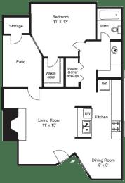 A2   1 BED/1BATH   675 SQ. FT.