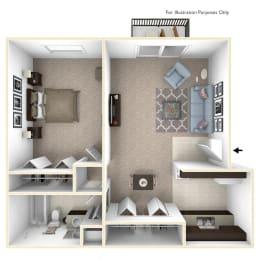 1-Bed/1-Bath, Primrose Floor Plan at Timberlane Apartments, Peoria, Illinois