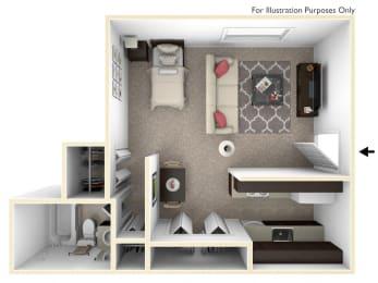 0-Bed/1-Bath, Torenia Floor Plan at Timberlane Apartments, Peoria, IL