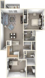 Traditional Two Bedroom Two Bathroom floor plan at Byron Lakes Apartments in Byron Center, MI 49315