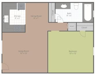 1 Bedroom 1 Bath floor plan image 529 sq ft