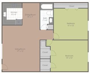 2 Bedroom 1 Bath 700 sq ft floor plan image